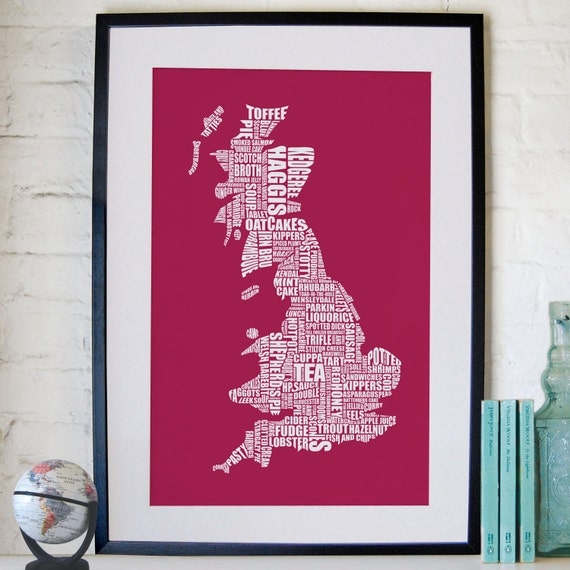 British Gastronomy map print - Red