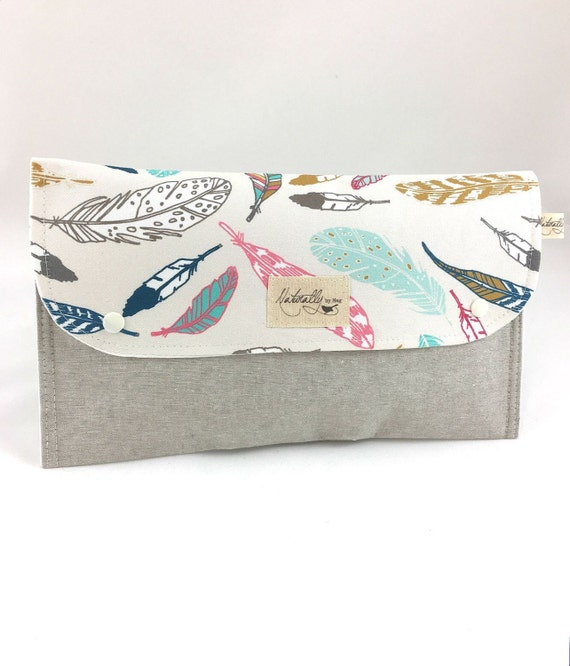 Etsy Australia Baby Gifts : Items similar to diaper clutch nappy bag wallet feathers