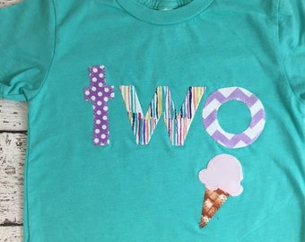 Ice cream party, ice cream outfit, girl's birthday outfit, girl's shirt, ice cream invite, ice cream decor, teal and purple, ice cream cone