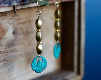 Scarab Dangle Earrings Patina Egyptian Scarab Charms Twisted Golden Beads Long Earrings - E290