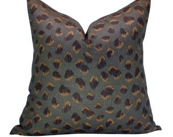 Kelly Wearstler Feline pillow cover in Taupe/Raisin