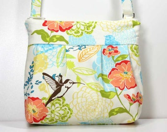 Small Pleated Shoulder Purse Sling Bag Hobo Shoulder Bag Cross Body Bag - Spring Floral Hummingbird Purse - Ready to Ship