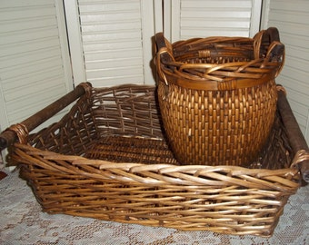 2 Large Farmhouse baskets 1 barrel and 1 crate dark wood tightly woven w handles primitive, Magazines French country..Reduced..WAS 17.88