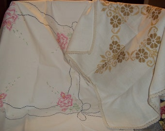 2 Lot vintage tablecloth embroidery fine crocheted lace edged linens Shabby cottage French country chic