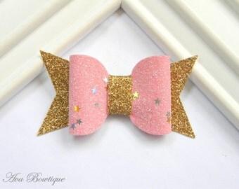 Glitter Bow Hair Clip - Bow Hair Clip - Pink Bow Hair Clip - Glitter Bow Clippie - Pink Glitter Clippie