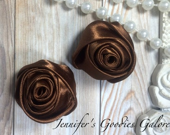 "Set of TWO Light Brown 2"" Satin Rosette Flower Heads, Rolled Roses Wholesale Mini Rosettes for Baby Headbands"