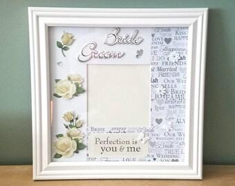 Personalized Wedding Picture Frame, Bridal Shower Gift, handmade designed wedding frame , unique wedding gift , wedding gift, brides gift