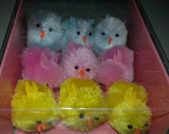 9 XL Spring Easter Chenille Chicks Blue, Pink and Yellow 1 5/8 in x 1 1/4 in. x 2 in
