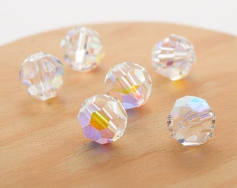 Swarovski crystal 8mm beads small packaging 6 pc. Crystal (001) AB 5000