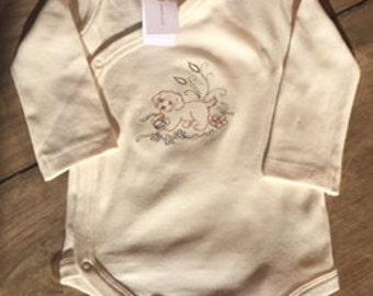 Organic Baby Classic Kimono Puppy Onesie Body Suit -  Long Sleeve 6 - 9 mos
