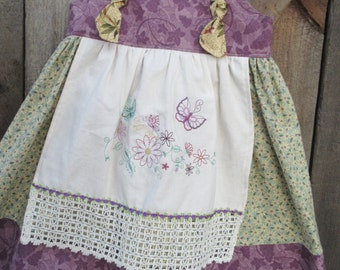 Girls apron knot dress, Girls tea party dress,  Birthday Dress, availabe to order 12mos, 18mos 2T,3T,4T,5t