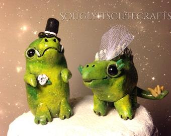 Dinosaur Wedding Cake Toppers Love Clay Cute Figurines