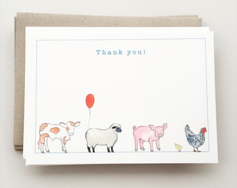Farm Animals Thank You Note Cards - farm birthday party- sheep - pig - cow - chicken