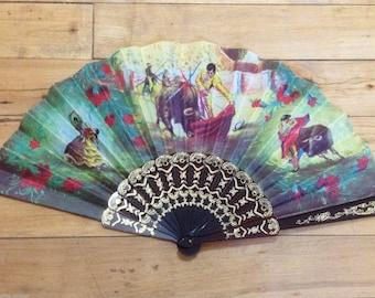 Spanish 1950s Souvenir Folding Hand Fan - Flamenco Dancers & Corrida - Made in Spain - New