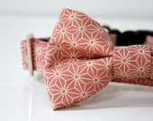Hemp Leaves Bow Tie Dog Collar - Pale Pink