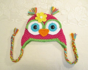 Bright Pink and Lime Green Crochet Owl Hat - Photo Prop - Available in Any Size or Color Combination