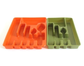 Avocado Green Flatware Trays Rubbermaid Orange Silverware Organizer 1970s Kitchen #2921 2922