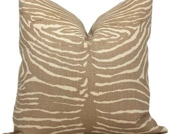 Beige Le Zebre Linen Pillow by Brunschwig  & Fils  Decorative Pillow Cover 18x18, 20x20, 22x22, Euro, Lumbar pillow, Accent Pillow