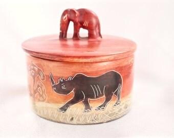 Orange Carved African Soapstone Elephant Trinket Box