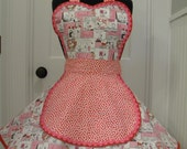 Womens Apron-Valentines Apron-The Snoopy Valentines Maid Apron