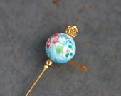Blue Hat pin - Porcelain Sky blue with Pink flowers - Stick Pin