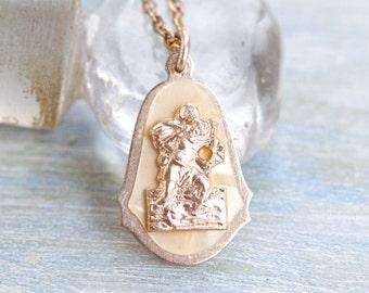 Saint Christopher Necklace - Vintage Medallion on Chain - Religious Icon
