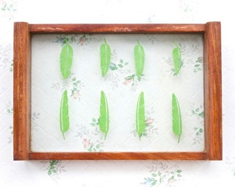 Wooden Tray with Glass Bottom and Green Leaves - Small Serving Tray - Vintage Boho Home Decor