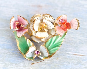 Colorful Flower Lapel Pin - Vintage Pressed Tin Brooch with Rhinestones