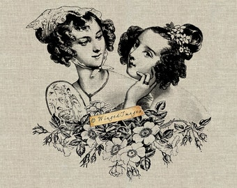 Two Victorian Beauties. Instant Download Digital Image No.367 Iron-On Transfer to Fabric (burlap, linen) Paper Prints (cards, tags)
