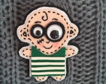 Handmade Felt Brooch Scary Boy