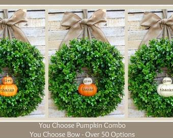 Fall Wreath - Pumpkin Wreath - Custom Handmade Wreath - Boxwood Wreath