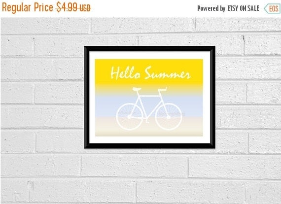 CIJ SALE 8x10 Print Hello Summer Sign Bike Printable Digital Print Digital Download Digital Art Beach Print Beach Decor Home Decor Print Wal