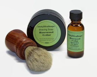 Mens Shaving Set with Shaving Soap, Pre Shave Conditioner  And Rosewood Brush, Mens Gift Set in Rosewood and Cedar