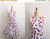 ON SALE // Retro Cherry Full Skirt Dress / Circle Skirt Dress / Size L/Xl