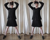 40s 50s pleated layered crepe little black dress S