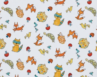 25203- Dena Designs FoxPlayground collection Animal toss in White  - PWDF191 - 1 yard