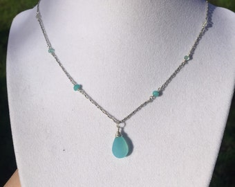 Chalcedony, apatite, and aquamarine necklace