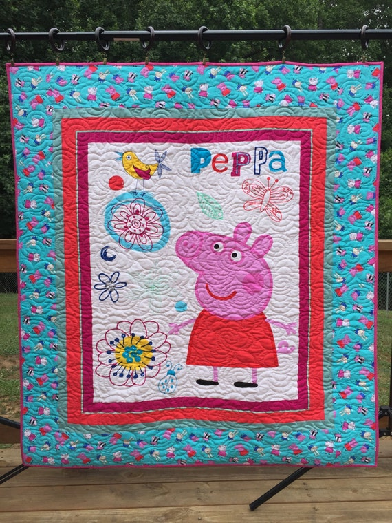 Peppa Pig Quilt Pig Quilt Toddler Bed Quilt Baby Quilt