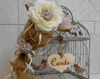 Birdcage Wedding Card Holder / Rustic Birdcage Card Holder / Burlap Birdcage Decor / Shabby Birdcage Wedding Wedding Decor / Card Box /