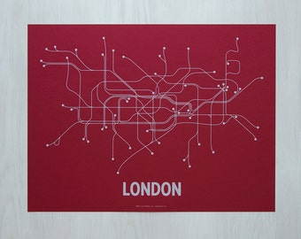 London Screen Print- Red/Light blue
