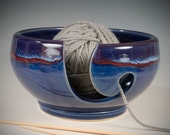 Yarn / Knitting Bowl - cobalt blue with deep red line flowing glaze - Wheel Thrown Stoneware by Seiz Pottery