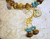 RESERVED ORDER: GINGER-This is a reserved custom order for Ginger - Tiger's Eye Bracelet with Turquoise accents and Buddha charm & earrings