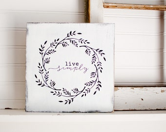 Live Simply wreath sign