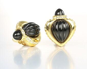 Byzantine Earrings, Black lucite Rhinestone Romanesque Earrings Gold tone signed Jesara, vintage jewelry