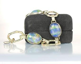 Art Deco Bracelet, Czech glass Blue Opal Bracelet, 8 inch Link, 1920s antique jewelry