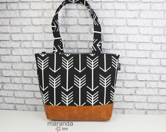 Lulu Large Tote Diaper Bag Arrows Black READY to SHIP