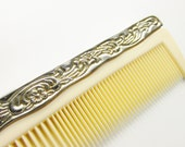 Vintage Silver Plate Ivory Celluloid Large Hair Comb Vanity Dresser