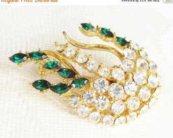 SaLe Vintage Emerald Green Clear Rhinestone Brooch 1960s