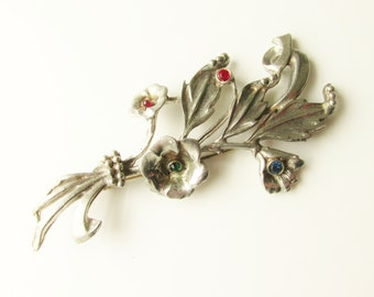 Large Vintage Rhinestone Floral Flower Bouquet Brooch 4 inches 1920s