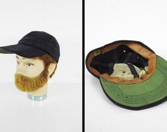 Vintage 50s Wool Baseball Cap Navy Blue Long Brim Hat - Small / Medium